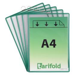 Závěsné zelené kapsy A4 s očkem/5ks na výšku
