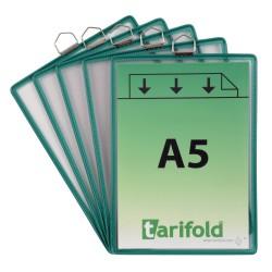 Závěsné zelené kapsy A5 s očkem/5ks na výšku