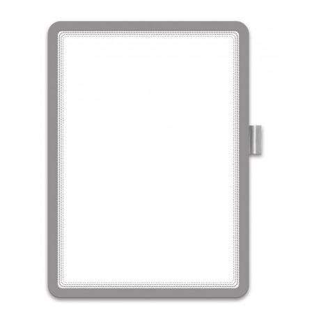 Magneto Memo - samolepicí rámeček, A4, úchyt na pero, stříbrný