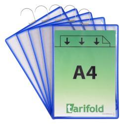 Závěsné modré kapsy s hákem A4 na výšku, otevřené shora