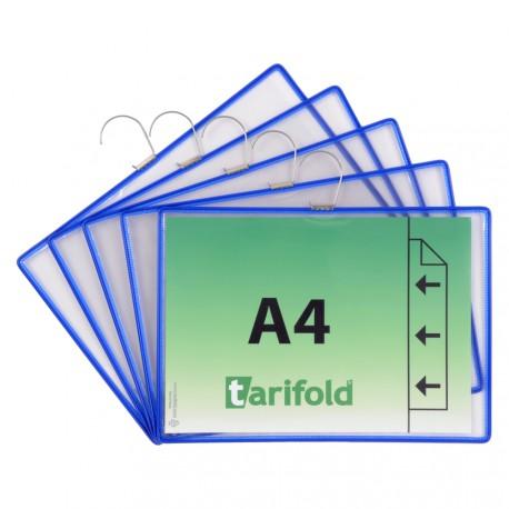 Závěsné modré kapsy s hákem A4 na šířku, otevřené shora