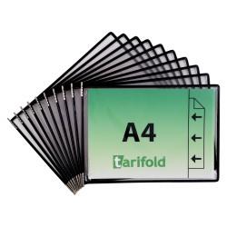 Závěsné černé kapsy A4 s úchyty/10 ks na šířku