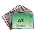 Kapsy A3 mix barev s kovovými úchyty na šířku/10 ks otevírání z boku
