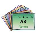 Kapsy A3 mix barev s kovovými úchyty na šířku/10 ks otevírání shora