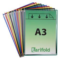 Kapsy A3 mix barev kovovými úchyty na výšku/10 ks