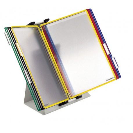 Pultový kovový stojan, kapsy A4 mix barev, otevřené shora