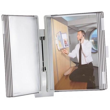 Nástěnný Design plastový držák A4 + 10 šedých závěsných kapes