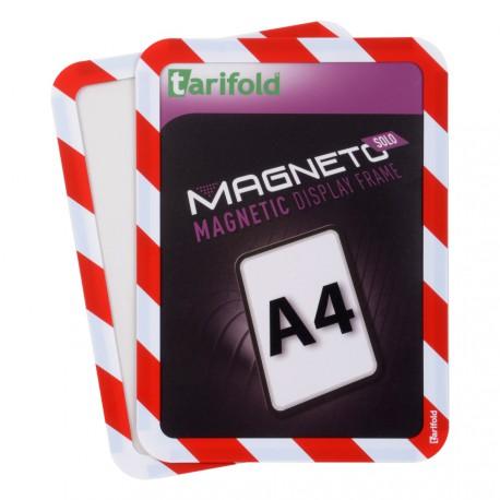 Magneto Solo bezpečnostní červenobílá A4 magnetická kapsa/2ks. Samolepící zadní strana