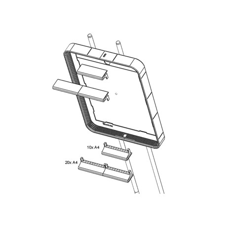 Plastový klip k uchycení 10 kapes A5/A4 na informační panel stojanu Infostand šedý/2ks